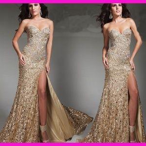 Primavera Rose Gold Sequin Straoless Gown w/ Slit